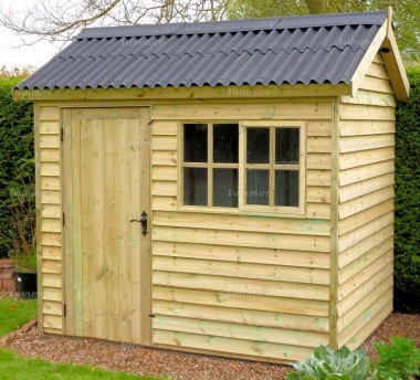 Pressure Treated Apex Shed 666 - Rustic Boards, Corrugated Roof