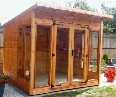 Pent Summerhouse 123 - Large Panes, Double Door