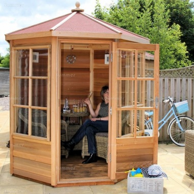Cedar Octagonal Summerhouse 741 - Georgian, Toughened Glass