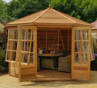 Cedar Octagonal Summerhouse 745 - Georgian, Toughened Glass