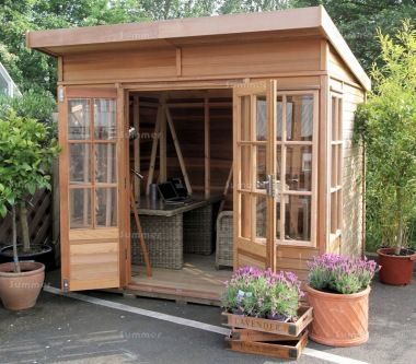 Cedar Pent Summerhouse 750 - Georgian, Toughened Glass