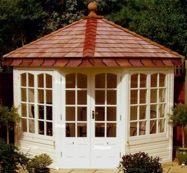 Corner Summerhouse 511 - Cedar, Painted, Georgian