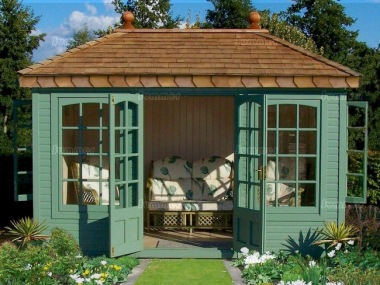 Hipped Summerhouse 512 - Cedar, Painted, Cedar Shingles