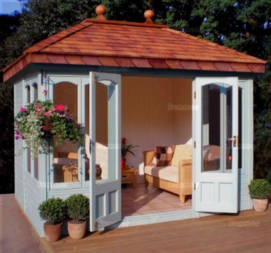 Hipped Summerhouse 608 - Cedar, Painted, Large Panes