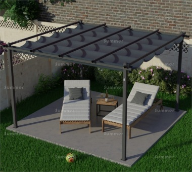 Metal Gazebo 110 - Powder Coated Aluminium, Retractable Canopy
