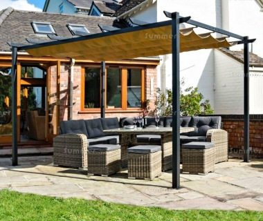 Metal Gazebo 447 - Powder Coated Aluminium, Retractable Canopy