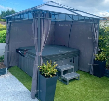 Aluminium Gazebo 268 - Polycarbonate Roof, Side Curtains
