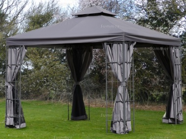 Gazebo 106 - Metal, Hipped Roof, Trellis, Nets, Curtains