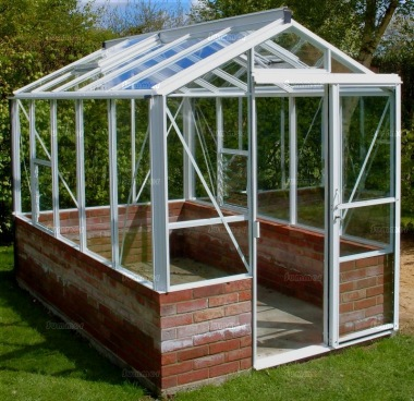 Dwarf Wall Aluminium Greenhouse 61 - Toughened Glass