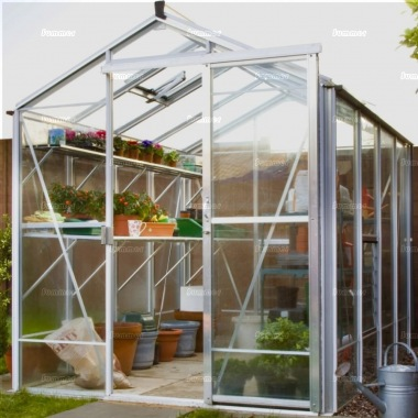Grey Aluminium Greenhouse 610 - Toughened Glass