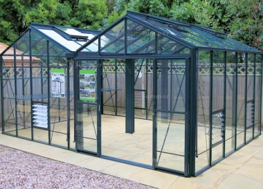 Large Twin Apex Greenhouse 624 - Box Section