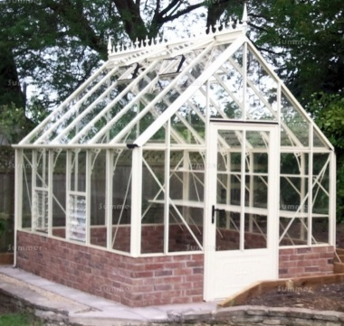 Dwarf Wall Victorian Greenhouse 671 - Aluminium, Box Section