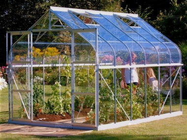 Aluminium Greenhouse 147 - Silver, Curved Eaves