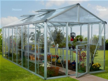 Aluminium Greenhouse 199 - Stable Door, Polycarbonate Roof