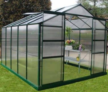 Aluminium Greenhouse 090 - Green, Polycarbonate, Base Included