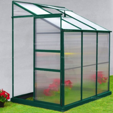 Aluminium Lean To Greenhouse 125 - Green, Polycarbonate, Base Included