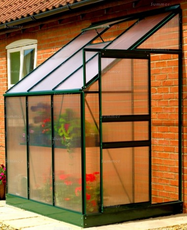 Aluminium Lean To Greenhouse 045 - Green, 6mm Polycarbonate, Base Included
