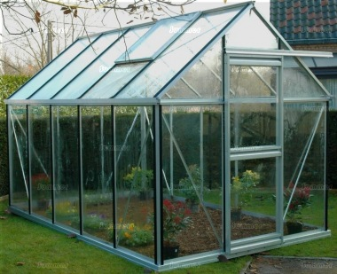 Grey Aluminium Greenhouse 57 - Silver, toughened Glass