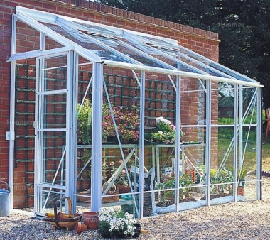 Dwarf Wall Aluminium Lean to Greenhouse 692 - Toughened Glass