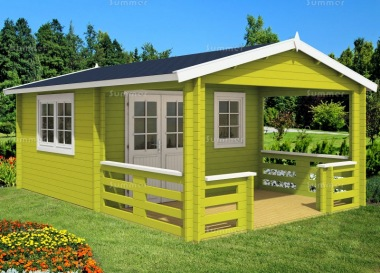 Double Door Apex Log Cabin 452 - Large Verandah