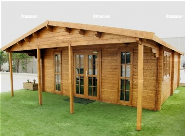 Double Door Apex Log Cabin 806 - Double Glazed, Large Front Overhang
