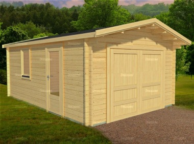 Wooden Log Garage 415 - Apex, Personnel Door