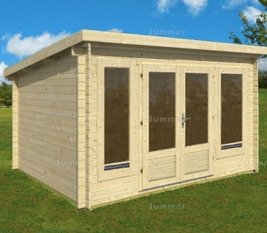 Double Door 45mm Pent Roof Log Cabin 013 - Double Glazed