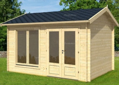 45mm Log Cabin 017 - Side Door Apex, Double Glazed