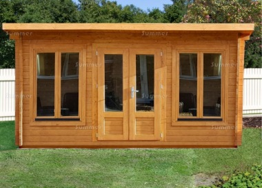 Double Door 45mm Pent Roof Log Cabin 026 - Double Glazed