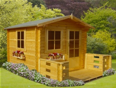 Georgian Apex Single Door 28mm Log Cabin 121