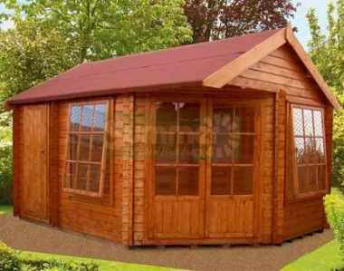 Two Room 28mm Corner Log Cabin 188 - Double Door