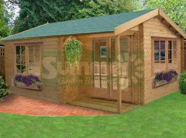 Side Door Apex Log Cabin 236 - Integral Porch