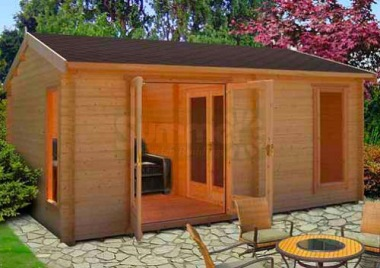Three Room Apex Log Cabin 245 - Large Panes