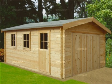 Wooden Log Garage 248 - Apex, Hinged Doors
