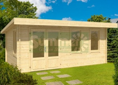 Double Door 40mm Pent Roof Log Cabin 271 - Double Glazed
