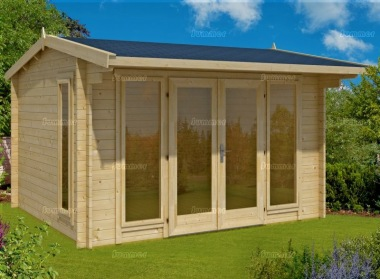 Side Door Apex Log Cabin 273 - Large Panes, Double Glazed