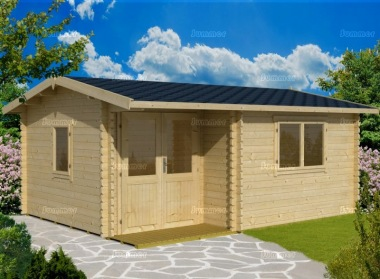 Side Door Apex 45mm Log Cabin 279 - Integral Porch
