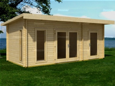 Two Room Pent Roof Log Cabin 528 - Double Glazed