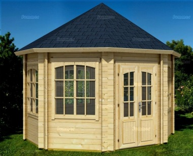 Double Door 45mm Octagonal Log Cabin 529 - Windows All Round