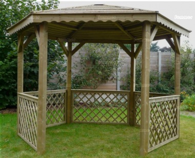 Gazebo 773 - Hexagonal, Pressure Treated, Slatted Roof