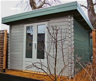 Double Door Pent Roof Log Cabin 599 - Large Panes