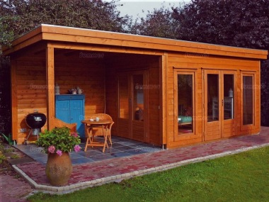 Pent Roof Gazebo 389 - With Integral Summerhouse