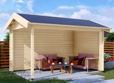 Wooden Gazebo 681 - Apex Roof, Fully Boarded Walls