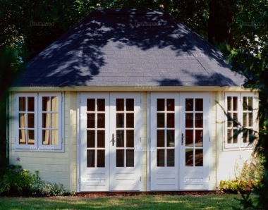 Georgian Double Door 45mm Octagonal Log Cabin 204