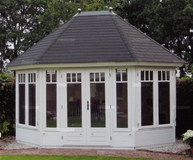 Double Door 45mm Octagonal Log Cabin 209 - Large Panes