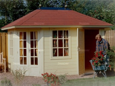 Two Room Double Door Corner Log Cabin 250 - Felt Tiles