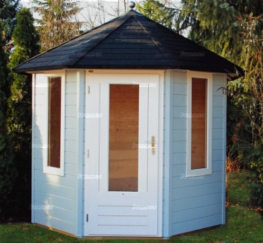 Single Door 28mm Octagonal Log Cabin 354 - Double Glazed