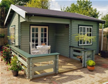 Side Door Apex Log Cabin 295 - Bespoke, Integral Porch