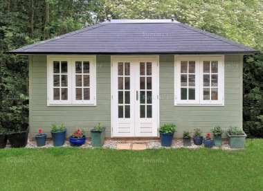 Hipped Roof Double Door Log Cabin 324 - 45mm, Bespoke