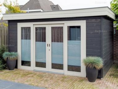 Pent Roof Log Cabin 343 Sliding Double Door